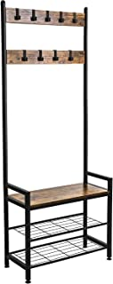 Ballucci Industrial Shoe Bench Coat Rack, 3-Tier Hall Tree Entryway Organizer Storage Shelf, Free Standing Wood Accent with Metal Hooks and Frame, 3 in 1 Design, Rustic Brown