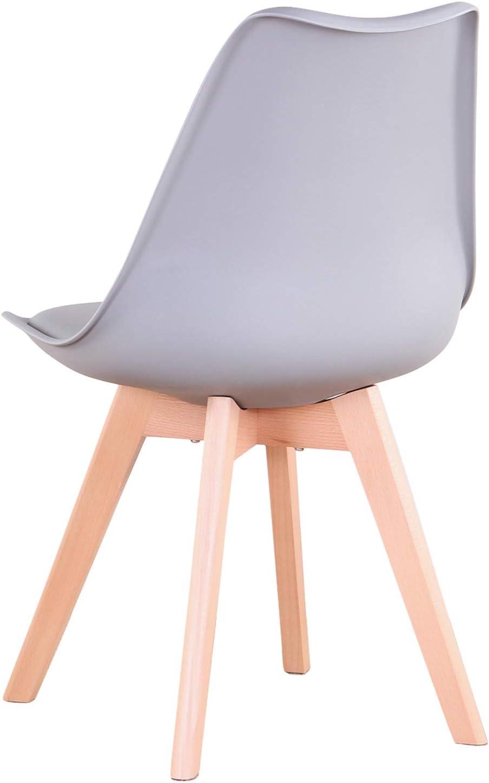 Uderkiny Lot de 4/6 chaises Chaises de Salle à Manger avec Coussins et Pieds en hêtre pour Salle à Manger Cuisine Bureau, etc (Blanc-4) Gris-4