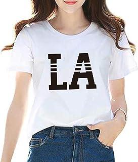 YoniStar ロゴtシャツ レディース 半袖 女性用 白 プリント 星柄 トップス 薄手 丸首 英字 夏