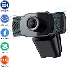 1080P HD Webcam with Microphone, Laptop Desktop PC Web Camera 2MP, 30fps, USB Plug and..