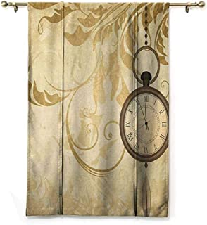 Andrea Sam Tie Up Shade Window Clock,A Vintage Grungy Background Design with Pocket Watches on Chain Romantic Retro Art Print, Brown,48