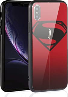 Justice League Superhero Theme Designed for Apple iPhone Xs Case (2018) / Designed for Apple iPhone X Case (2017), Tempered Glass Back Cover and Soft Silicone Rubber Bumper Frame (Superman 04)