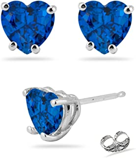 Beautiful gift for the woman you love. The studs have the finest AAA quality heart-shaped Created Blue Sapphire each prong set in 14K White Gold. Blue Sapphire is the most popular of all gems. It is a very hard gemstone coveted for its vivid blue color. Sapphire is the September Birthstone.