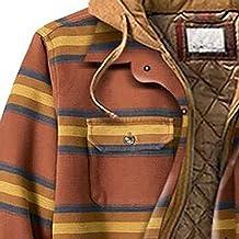 QEERT Winterjas voor heren, lang gewatteerd, gevoerd, geruit hemd met knoopsluiting en fluweel, om warm te blijven jack me...