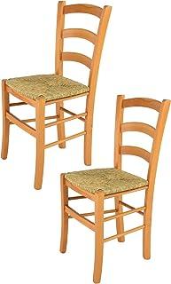 Tommychairs - Set 2 sillas Venice para Cocina y Comedor Estructura en Madera de Haya Color Miel y Asiento en Paja