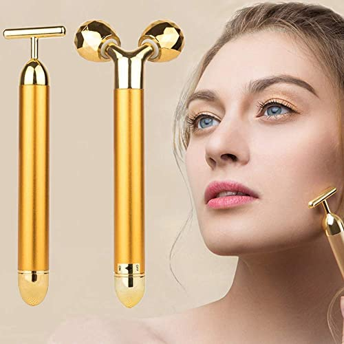 2-IN-1 Beauty Bar 24k Golden Pulse Facial Face Massager,Electric 3D Roller and T Shape Arm Eye Nose Head Massager Ins...