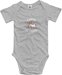 Cupid is Stupid Baby Romper 0-18 Months Newborn Baby Girls Boys Layette Rompers Black
