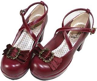 リボンバレッタ付き クロスストラップ パンプス プラットフォーム 厚底 ゴスロリ ロリータ レディース パンプス 靴 くつ シューズ ゴシック コスプレメイド靴 イベント衣装靴 ストラップ リボン