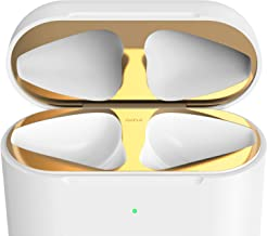 GAZE Dust Guard for AirPods ChargingCase, Chromium Plating Finish Shiny Metal Sticker, Protects Apple Airpods 1, Airpods 2 from Iron, Metal Shavings (for Airpods 2 Wireless Charging Case, Pure Gold)