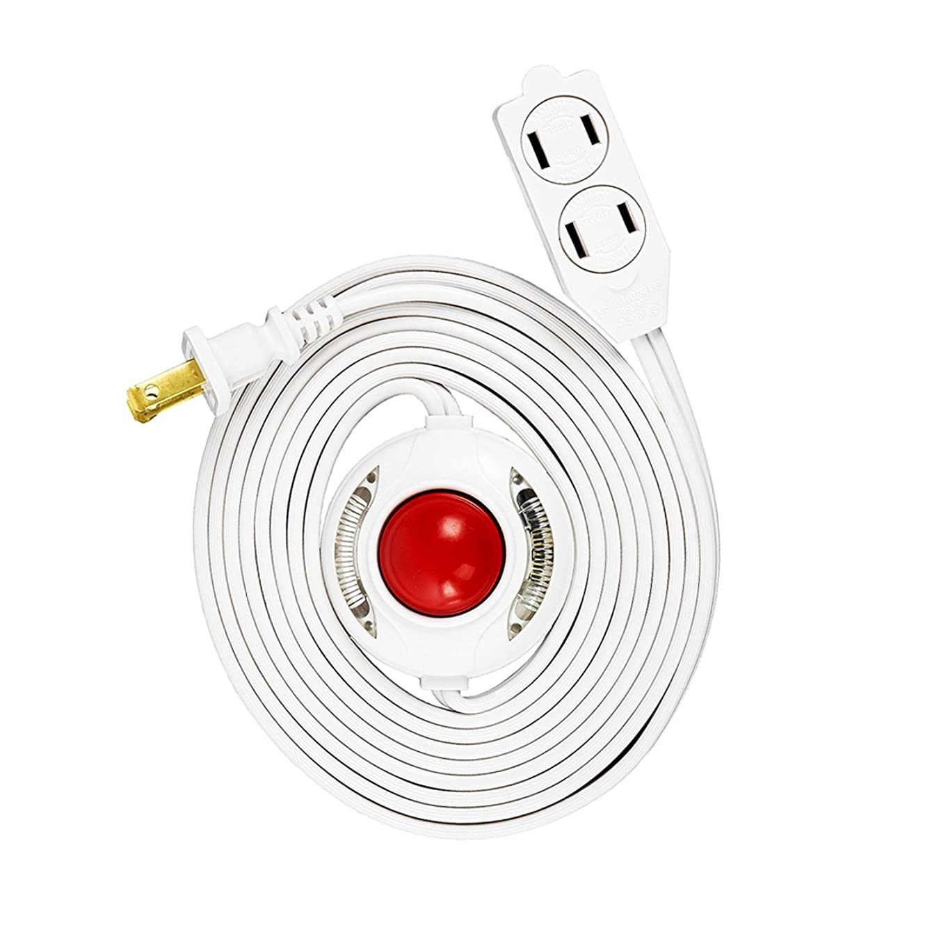 Uninex 9 Ft 3 Outlet Lighted Foot Switch Extension Cord Power Strip with Safety Covers Lamp Christmas UL