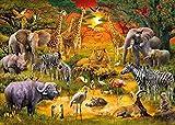 FAWFAW 1000 Piece Wooden Jigsaw Puzzles, Selva con Animales, Vida Salvaje