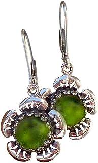 Recycled Early 1900's Olive Green Wine Bottle Sterling Silver Flower Leverback Earrings