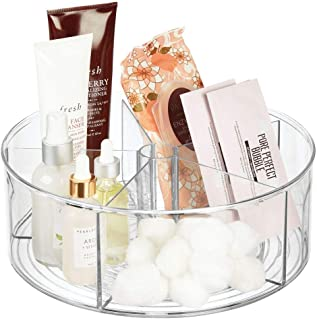 mDesign Deep Plastic Lazy Susan Turntable Storage Tray - Divided Spinning Organizer for Bathroom Vanity Countertop, Dressing Table, Makeup Station, Dresser - 5 Sections, 11.5