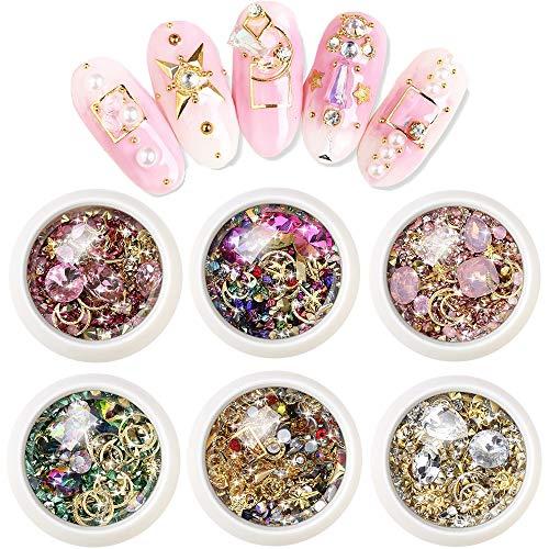 EBANKU 6 Cajas Pedrería para Uñas | Kit de Diamantes de Imitación de Arte de Uñas Piedras de Diamante de Imitación de Decoración de Arte de Uñas