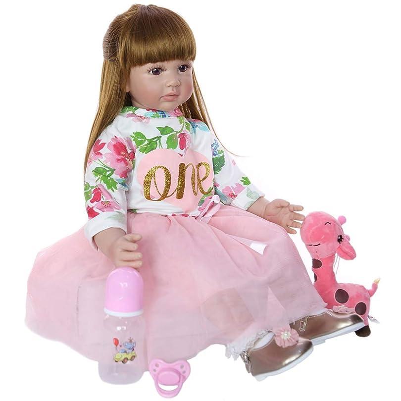 過言批評中止します生まれ変わった赤ちゃん人形手作り24インチ生まれ変わった赤ちゃん女の子人形本物のようなプリンセスシリコーン幼児赤ちゃんPP綿ボディの子供の誕生日プレゼント
