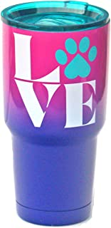Kodi Lifestyle Collection 30 Ounce Large|Paw Love Dog and Cat Stainless Steel Travel Tumbler|Hot and Cold|Temperature Retention|Ombre Dipped Pink and Purple|Teal Lid for Straw|Dog Cat Mom Lover Rescue