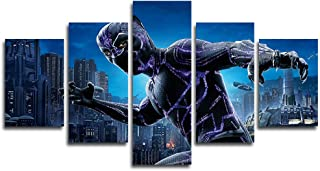 AtfArt 5 Piece Black Panther Canvas Painting for Living Room Home Decor Canvas Art Wall Poster (No Frame) Unframed Mr-20