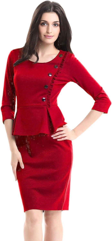Unomatch Women Flouncing Hem Fit Skirt Formal Peplum Dress Red