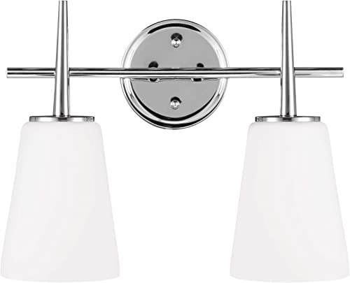 high quality Sea Gull Lighting 4440402EN3-05 Driscoll Wall/Bath Vanity Style Fixture, Two - discount Light, wholesale Chrome sale