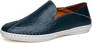 XinQuan Wang Mens Slip on Loafers PU Leather Solid Color Fashion Driving Boat Moccasins Casual Shoes (Color : Blue, Size : 10 UK)
