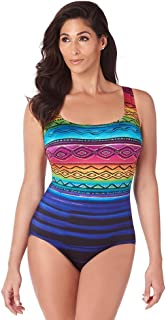 fc117aebd8e Longitude Women s Siesta Key X-Back Tank One Piece Swimsuit with Soft Cup  Bra and