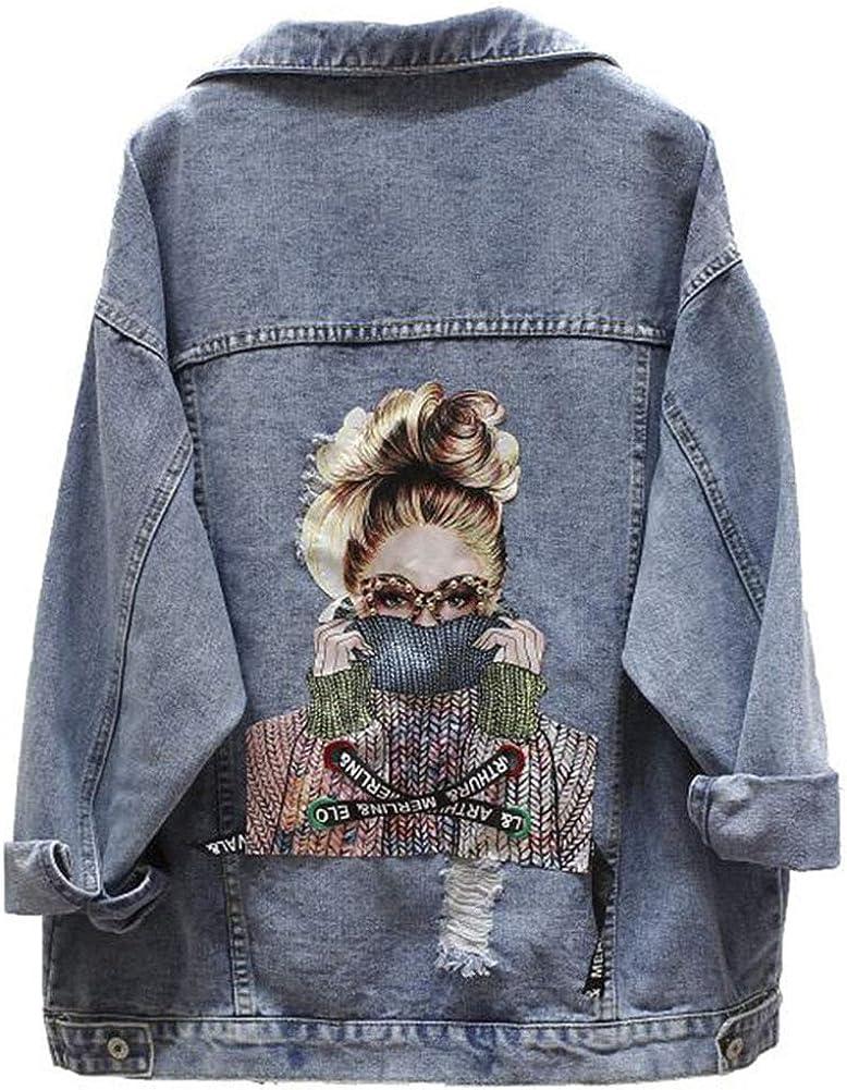 LoVnely Women Harajuku Printed Frayed Beading Denim Jacket Loose Casual Bat Sleeve Long Jeans Jacket Coat