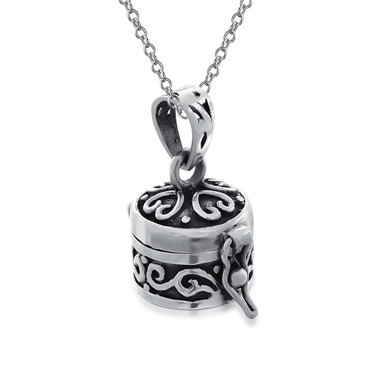 Cross Prayer Round Box Locket Keepsake Pendant For Women Black Oxidized 925 Sterling Silver Necklace With Chain