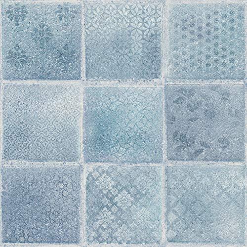 Vliesbehang Tegeltjes behang Tegel behang Beige/Creme Blauw Grijs 373882 37388-2 A.S. Création Neue Bude 2.0 Edition 2 | Beige/Creme/Blauw/Grijs | Sample (21 x 29,7 cm)