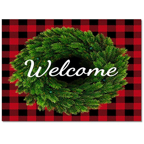 Area Rug Floor Carpet Rectangle Mat Door Pad for Bedroom Childrens Playing/Living Room Pine Christmas Wreath Throw Runner Rugs Red Buffalo Plaid
