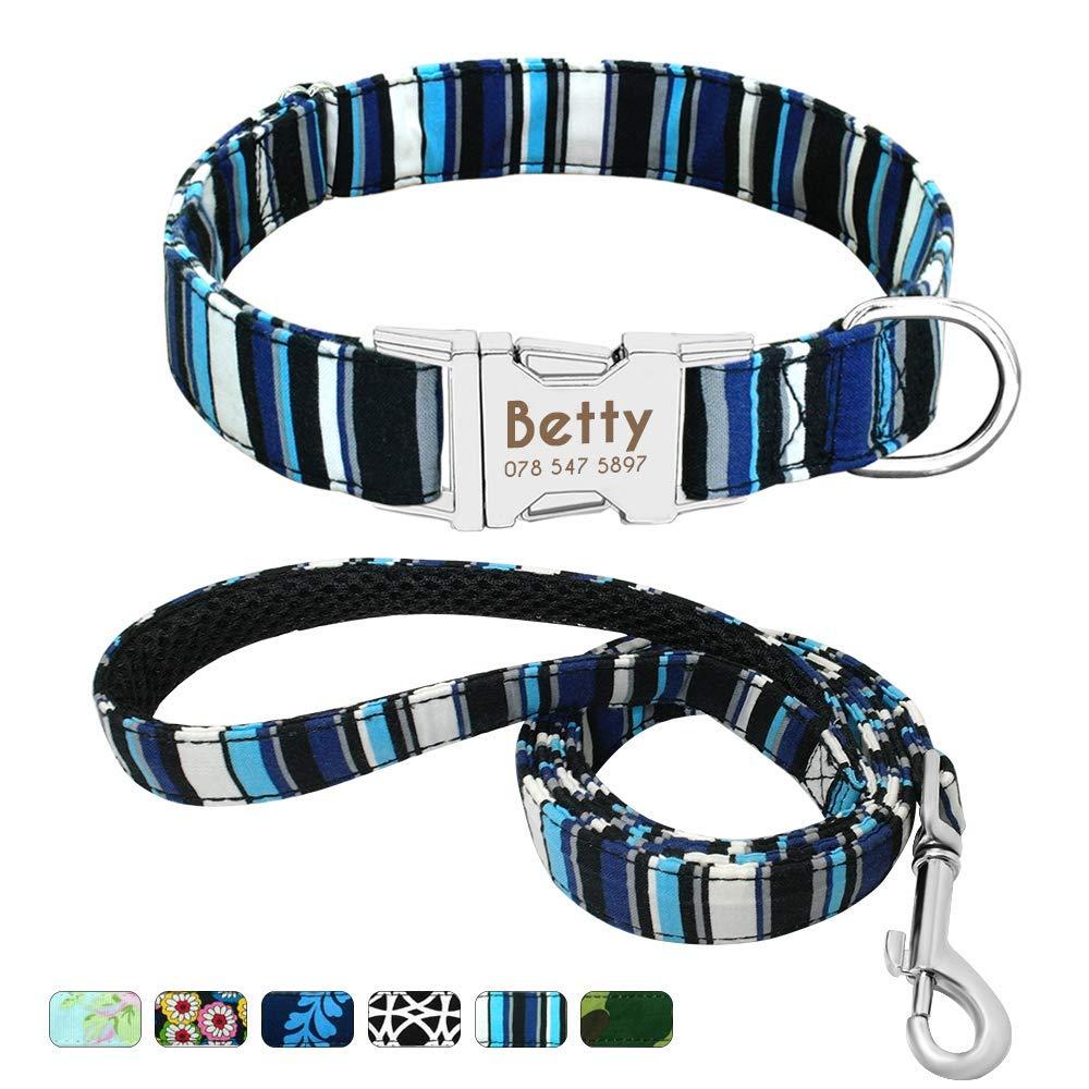 Beirui Collar Perro Personalizado con Hebilla de liberación rápida – Collares para Perros Personalizados con Patrones Florales – Navy Blue Collar y Correa Perro - S(10-15.5