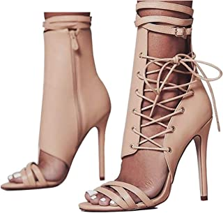 azmodo Women Shoes Sexy Gladiator Lace up Peep Toe Women Sandals High Heels