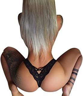 Snowfoller Sexy Women Lace Thongs Low Waist Seamless See Through Breathable Briefs T-Back Thin Panties G-string Lingerie (M, Black)