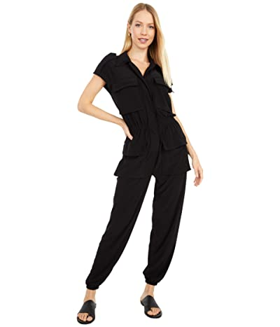 KAMALIKULTURE by Norma Kamali Sleeveless Neck Cargo Jumpsuit (Black) Women