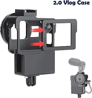 D&F 2.0 Vlog Estuche Marco de Carcasa Protectora de Aluminio CNC con Micrófono Zapata fría para GoPro Hero 7 Negro/6/5/(2018) Configuración del creador de Video Vlog