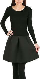 Molly Bracken Womens Sweater and Skirt Dress Black Large