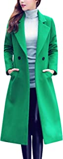 Women's Notch Lapel Double Breasted Wool Blend Mid Long Pea Trench Coat