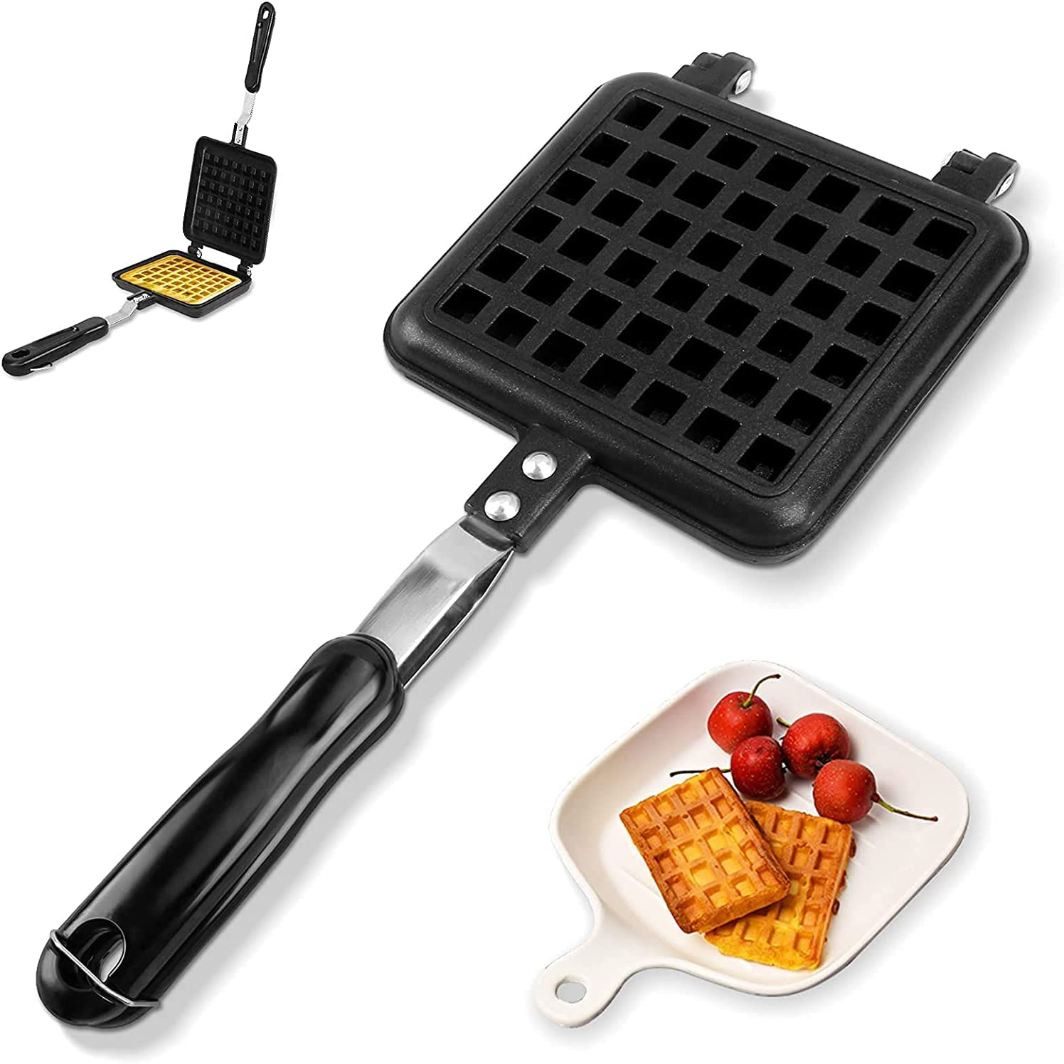 Non Stick Waffle Iron 11.8 5.7in Black Popular Excellence product Double-Sided Non-Stick x