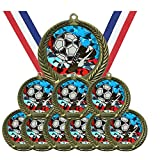 Antique Gold USA Series Soccer Award Medals Champion Winner with Red White and Blue Neck Ribbons (Pack of 10)