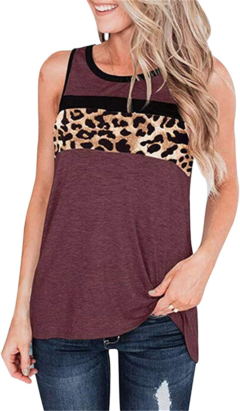 Womens Leopard V-Neck Tank Top Blouse Ladies Tie Up Sleeveless Summer T Shirts