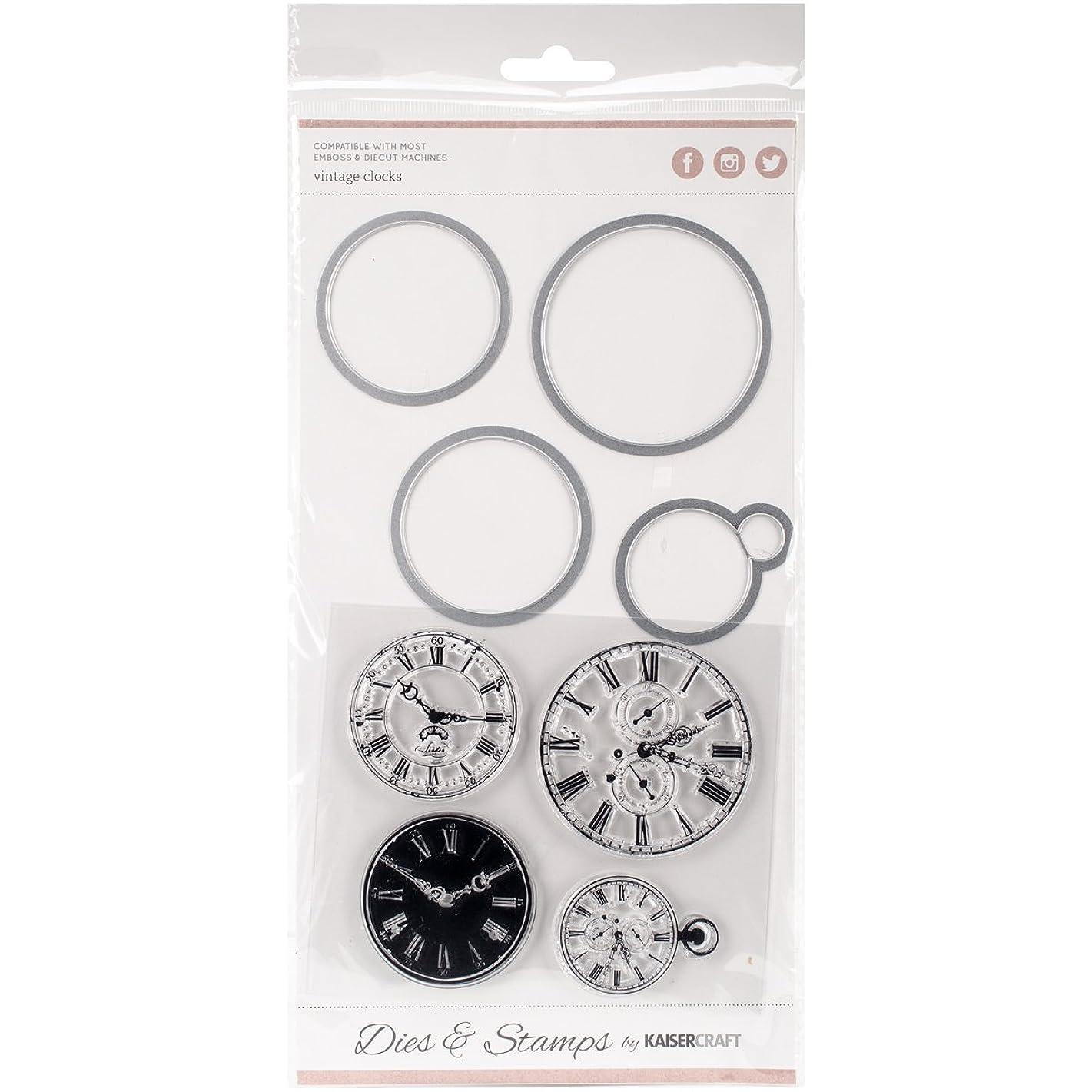 Kaisercraft Dies and Stamps Vintage Clocks 1.75 1.25 inch x 2.25, Acrylic Multicolour, 0.38x14.6x26.67 cm