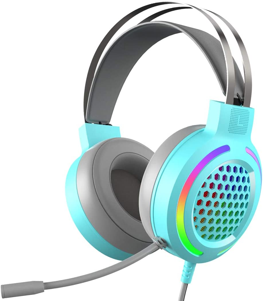 Gaming Headset with 7.1 Surround Sound,PC Lightweight Headset with Noise Canceling Mic,Bass Surround,Soft Memory Earmuffs,Rainbow LED Backlit for PC,PS4,Xbox One Controller(Adapter Not Included)(Blue)