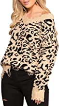Sunhusing Ladies Long Sleeve Sexy V-Neck Leopard Knit Print Distressed Shredded Tassel Hem Short Sweater