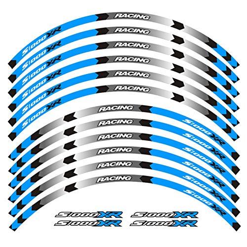 Calcomanías de la Rueda de la Motocicleta Pegatinas Reflectantes Ramillas de llanta para B-M-W S1000XR S1000 XR Motorbike Rueda de Rueda de Raya calcomanía (Color : D Blue)