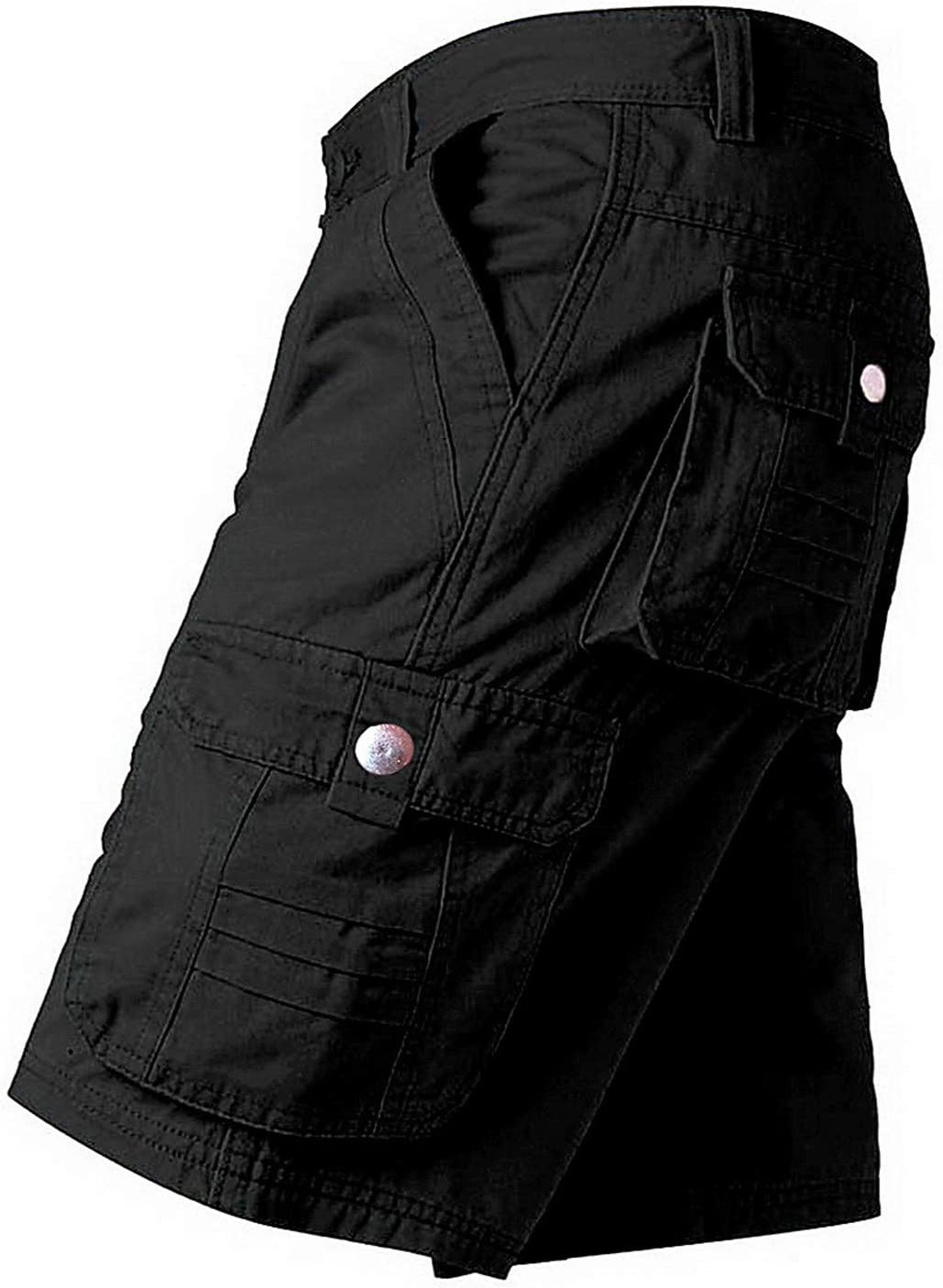 Yiqinyuan Men Shorts Work Shorts Trousers Military Fashion Short Pants Cargo Shorts with Multi-Pockets Pure Cotton Comfortable Black 30