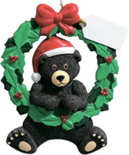 Personalized Black Bear Wreath Christmas Tree Ornament 2019 - Cute Animal Santa Hat Note Card Green Red Winter Holiday Tradition Grand-Son Grand-Daughter Kid Baby Friend Toddler - Free Customization