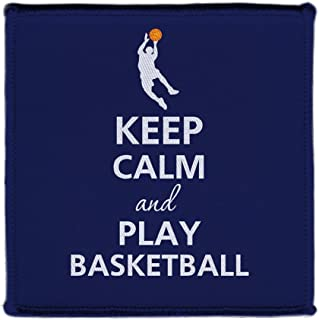 Keep Calm AND PLAY BASKETBALL PLAYER DUNKING - Iron on 4x4 inch Embroidered Edge Patch Applique