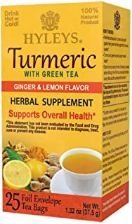 HYLEYS Tea Wellness Turmeric with Ginger and Lemon Flavor - 25 Tea Bags - (100% Natural, Sugar Free, Gluten Free and Non-G...