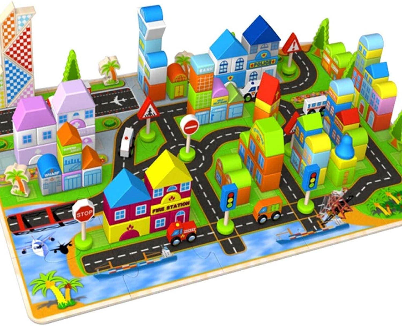 Precio por piso Jiamuxiangsi- Jiamuxiangsi- Jiamuxiangsi- Bloque de construcción - 200 piezas de arquitecto bloques de construcción Calidad de madera ensamblando bebés bebés Niños juguetes bebés Niños y niñas Educación temprana inteligencia esc  el mejor servicio post-venta