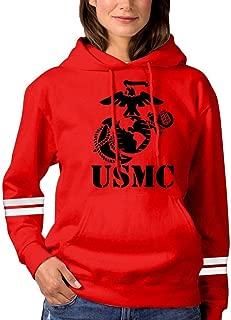 Women's USMC Marine Corps Pullover Hoodies Long Sleeve Hooded Sweatshirt
