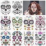 10Pcs Tatuajes Temporales de Cara Halloween, Pegatinas de Maquillaje Facial, Tatuajes de Maquillaje, Tatuajes de Cráneo para Día de Muerto y Baile de Disfraz para Adultos y Niños Mascarada Fiestas